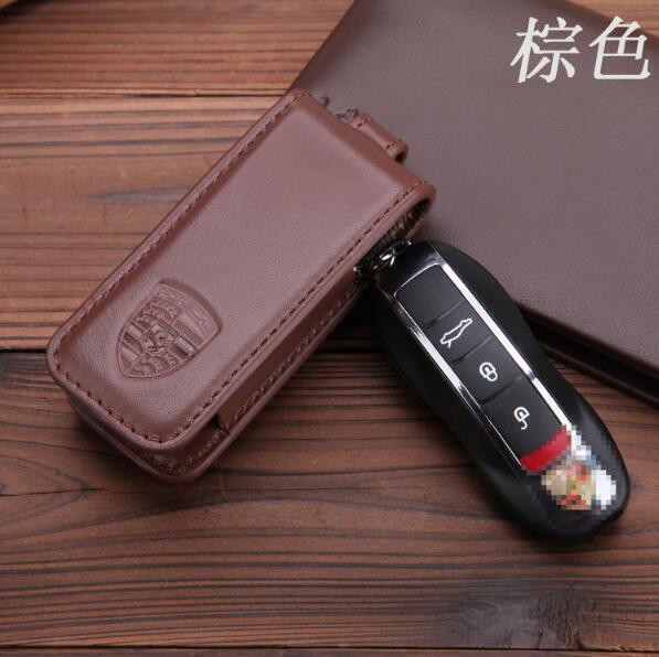 【寶寶優選】PORSCHE保時捷鑰匙包真皮卡宴鑰匙包帕拉梅拉boxster卡曼911Macan鑰匙套 棕色