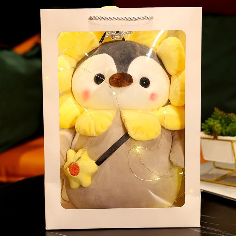可愛太陽花企鵝公仔毛絨玩具女生安撫玩偶布娃娃萌兒童男生日禮物