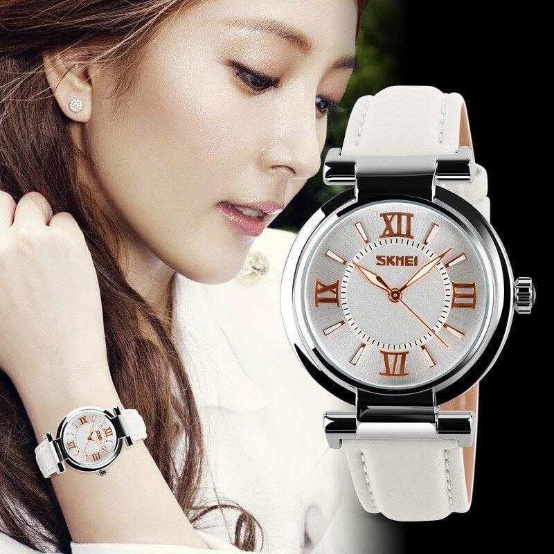 時刻美女士手表女表石英表潮流時尚皮帶手表防女表9075