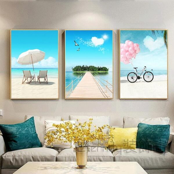 北歐風掛畫 無框畫 裝飾畫  海邊 海闊天空 自行車 氣球 藝術畫 客廳玄關餐廳壁畫壁貼 居家民宿店面裝