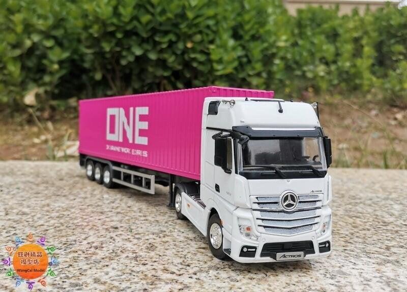 拍下立減1:50 奔馳 Benz ACTROS 貨柜卡車ONE涂裝海運集裝箱模型 高優美品