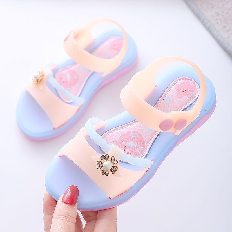 女童涼鞋夏2021新款時尚中大童時尚防滑軟底果凍學生小公主涼鞋