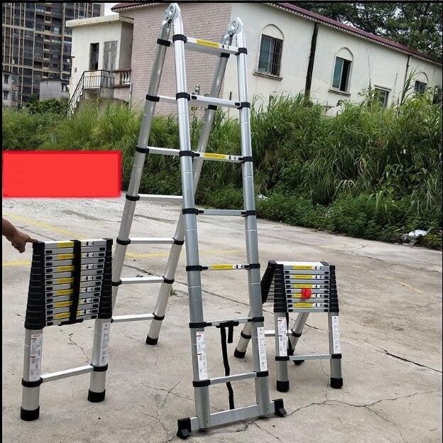 限时促销❀家用梯子伸縮梯折疊加厚人字梯鋁合金直梯工梯便攜 多功能升降梯