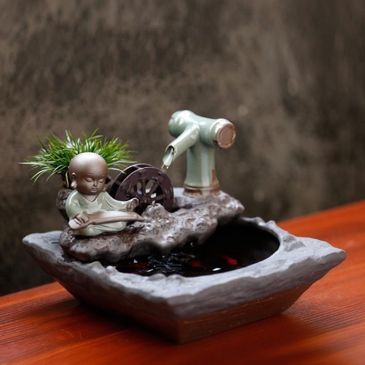 【新品上市】!擺件 辦公室桌面客廳裝飾小型魚缸陶瓷噴泉流水擺件水車風水輪招財創意