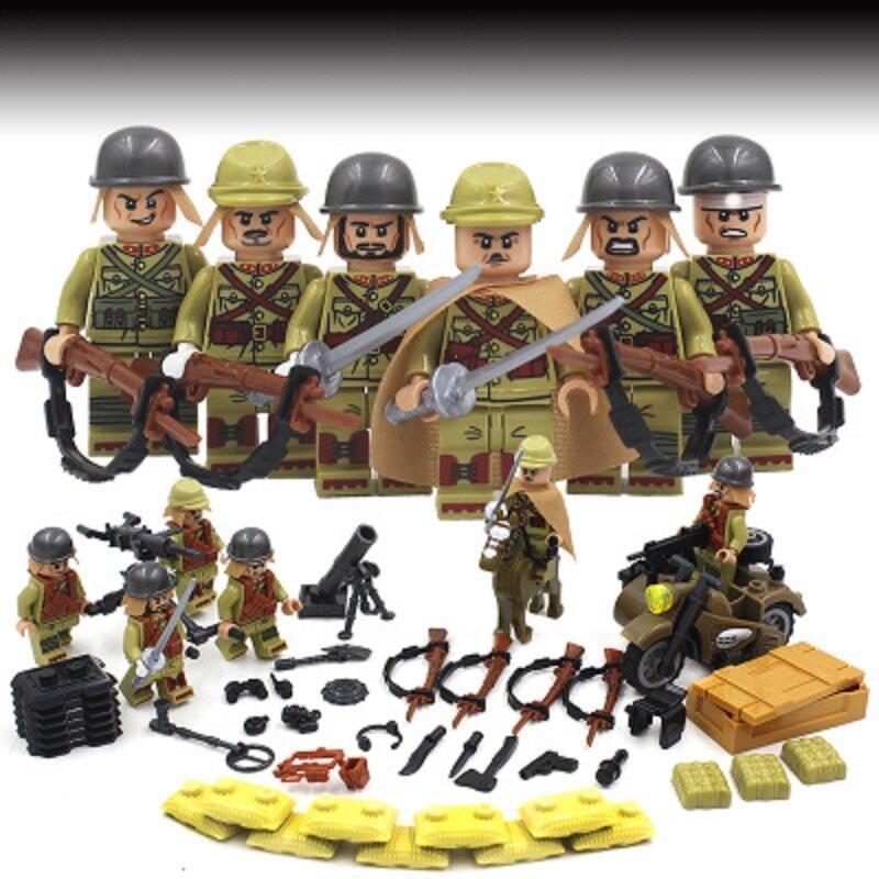 現貨+兼容樂高積木軍事國軍人仔二戰大砲八路軍日軍拼裝士兵隊小人玩具+量多可議價