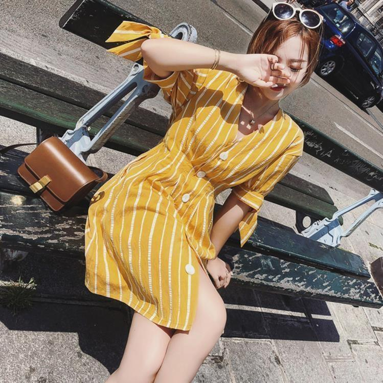 微胖大碼女裝夏條紋V領寬鬆減齡襯衫裙200斤胖mm遮肚子顯瘦連身裙-【吉野之家】