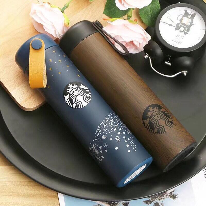 現貨 Starbucks星巴克拎繩不銹鋼保溫杯 隨行杯 木紋聖誕咖啡杯473ml 保溫水杯 水杯 禮物