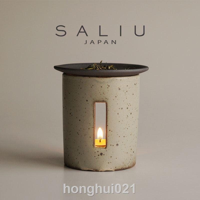 日本直採手工陶藝蠟燭香薰爐精油茶葉沉香爐茶道擺件粉引和鐵釉