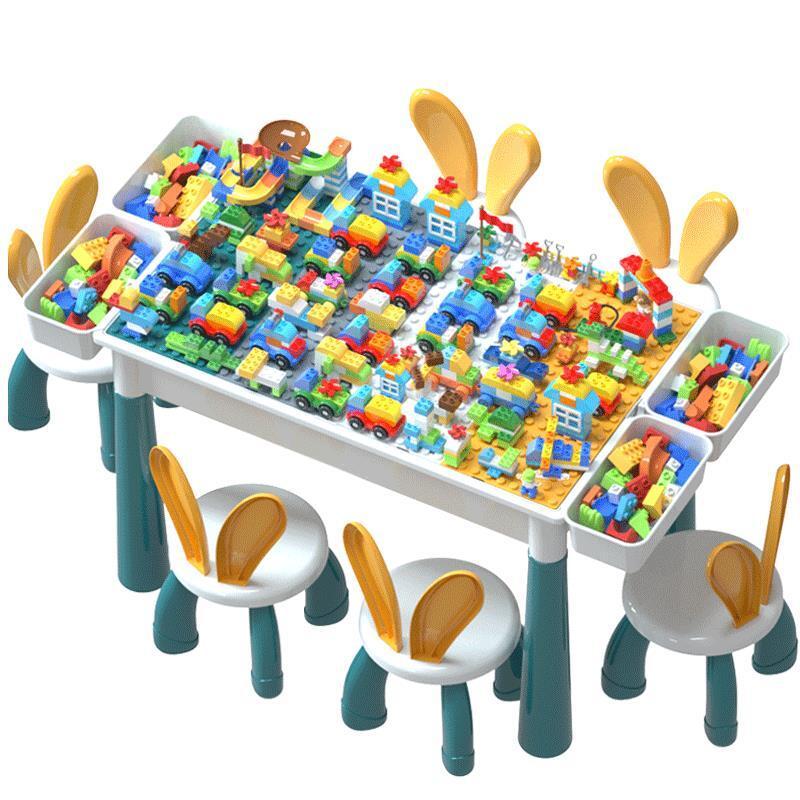 小惠 積木玩具兒童大顆粒多功能積木桌子寶寶拼裝玩具益智4男孩子智力女孩禮物