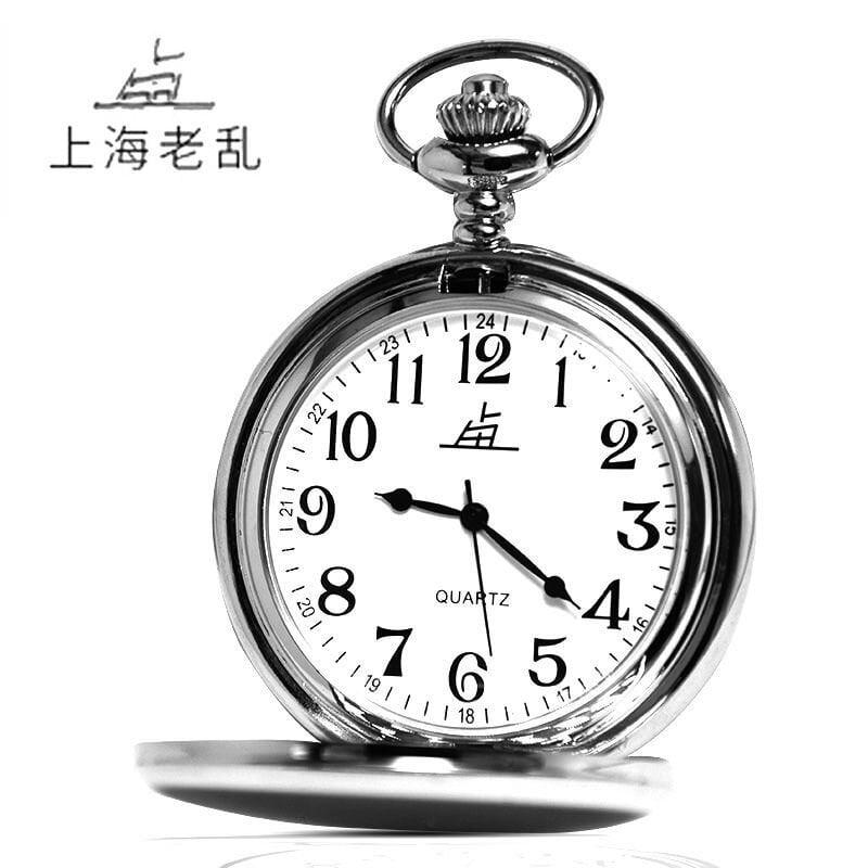 上海手表老亂牌懷表翻蓋中老年禮品男士石英懷表學生老人時尚掛表