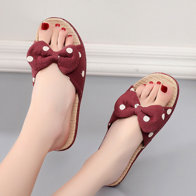 甜美波點涼拖鞋女清涼亞麻可愛韓版居家用防滑靜音軟底遠港百搭夏