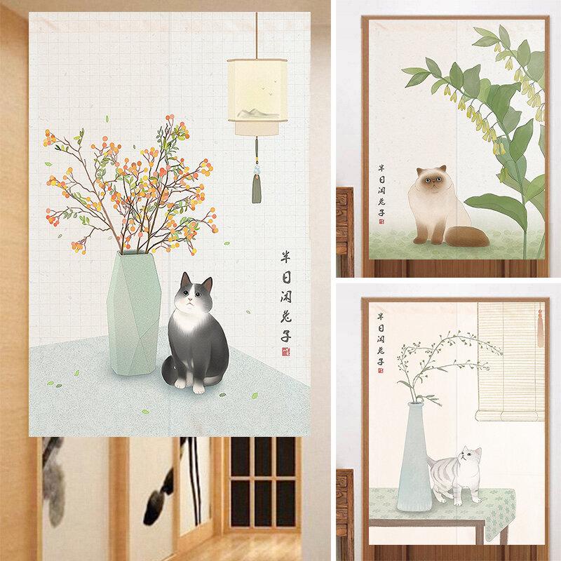 北歐日式貓咪門簾家用布藝隔斷簾臥室廚房可愛粘貼半簾裝飾遮擋遮門簾 窗簾