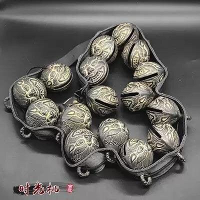 【金牌】古玩雜項收藏仿古虎頭鈴鐺銅鈴鐺一串價格會響一串16個鈴鐺