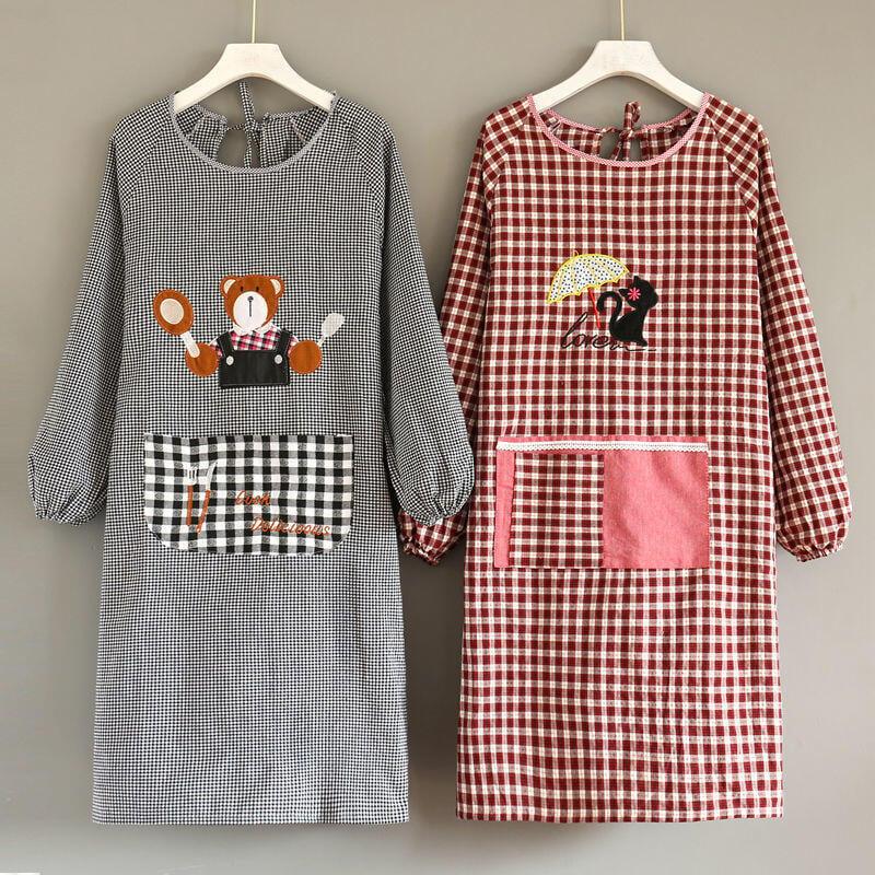 精品純棉長袖圍裙女廚房家用時尚韓版可愛網紅防污防油罩衣成人男定制